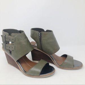 DV Green Cutout Wedge Sandals Size 10